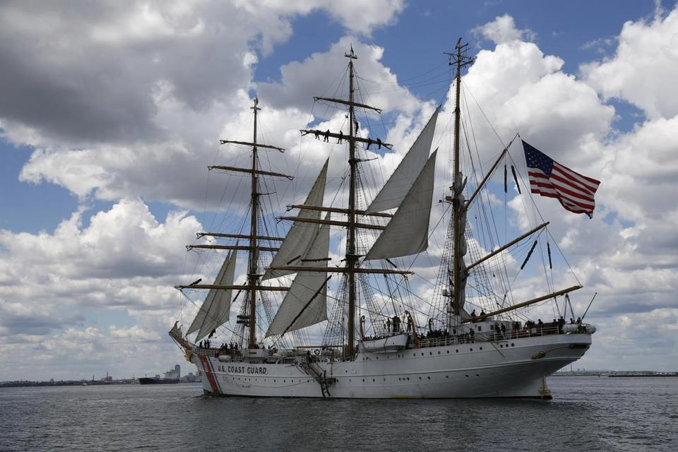 The tall ship Eagle arrived in Boston.